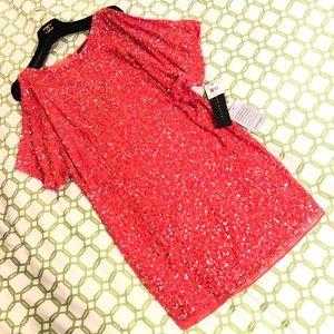 Beaded Sequin Cold-shoulder Split Sleeve Dress